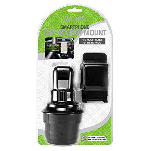 """Car Cup Holder Mount, Adjustable Smart Phone Cradle for iPhone X/8/8 Plus, iPods, Samsung Galaxy S8/ S8 Plus Note 8, MP3 Players, GPS Systems - Fits Mobile Devices Up To Widths Of 3.5""""- by Cellet"""