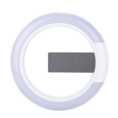 Vbestlife 1pcs Elegante Despertador Espejo Multifuncional Anillo de Reloj Digital con Luz LED Alarma Función de