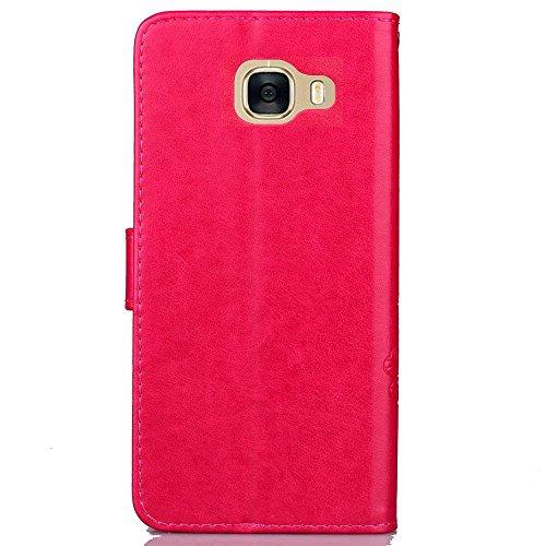 JIALUN-Personality teléfono shell Funda de cuero de la cubierta de la caja de la galaxia C5 de Samsung PU con la cubierta de la caja del caso del tirón de la correa de la mano Función de la carpeta de Red