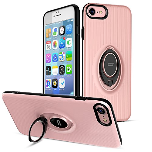 iPhone 7 Case with Ring Holder Kickstand by ICONFLANG, 360 Degree Rotating Ring Holder Grip Case for iPhone 7, Ultra Slim Thin Case Cover for iPhone 7 (4.7inch) - Pink 2