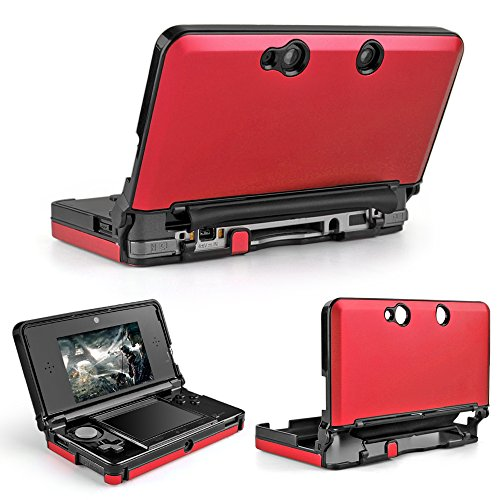 TNP 3DS Case (Red) - Full Body Protective Snap-on Hard Shell Aluminium Plastic Skin Cover for Nintendo 3DS 2011 Model