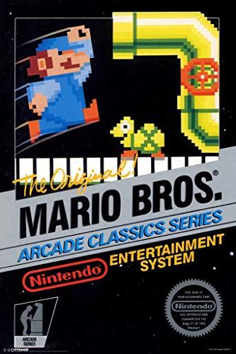 Pyramid America Laminated Mario Brothers Arcade Classic Series Nintendo NES Game Series Vintage Box Art Print Sign Poster 12x18 inch