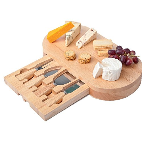 5-piece Set: Wood Cheese Board with Slide-out Drawer & Accessories ()