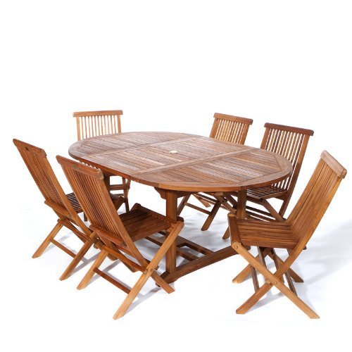 7pc. TEAK Oval Extension Table Folding Chair Set -