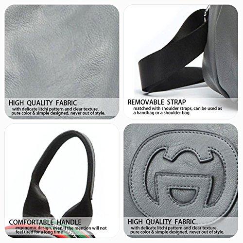 Laptop Handbags Shoulder Backpack Bags Women's School Backpack Grey Leather Bag Daypack PU qOSa5