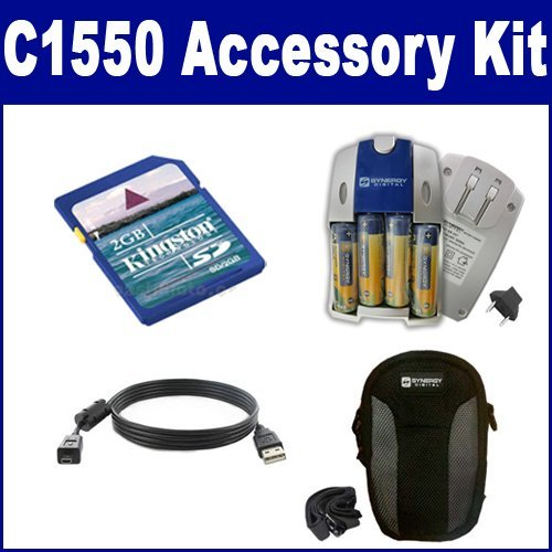 Kodak C1550 EASYSHARE Digital Camera Accessory Kit includes: SB257 Charger, SDC-22 Case, KSD2GB Memory Card