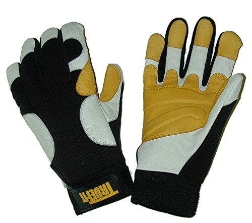 John Tillman and Co 1490L TrueFit Super Premium Full Finger Top Grain Goatskin and Spandex Mechanics Gloves with Elastic Cuff, Large, Black/Gold/Pearl