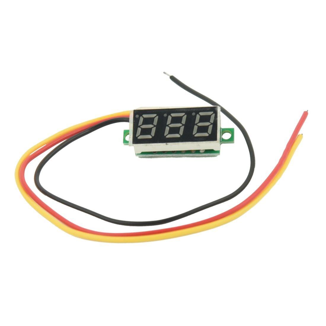 SODIAL(R) Mini Digital Voltmeter DC 0-100V LED Panel Voltage Meter 3-Digital With 3 Wires Green