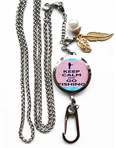 RhyNSky Fishing Keep Calm And Fish On Aromatherapy Essential Oil Diffuser Locket Pendant ID Badge Holder Lanyard Necklace Bracelet Keychain with Chain and Pads, C60 - Car C60
