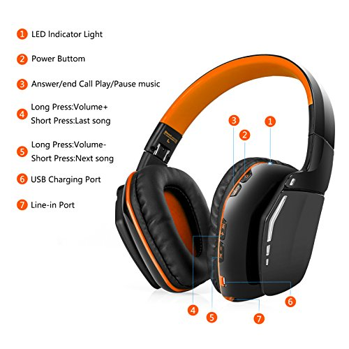 oldshark foldable over ear bluetooth headphones with mic. Black Bedroom Furniture Sets. Home Design Ideas