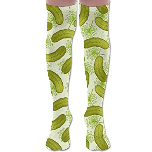 Dill Pickles Youth Soccer Socks Teens Knee High Football Socks Long Striped Rugby Tube Socks.