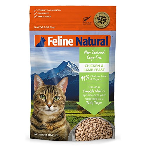 Cage General Cat Cage (Freeze Dried Cat Food by Feline Natural - Perfect Grain Free, Healthy, Hypoallergenic Limited Ingredients for All Cats - Raw, Freeze Dried Mixer - 11oz Pack (Chicken & Lamb))