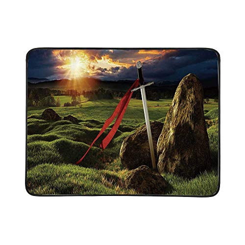 YOLIYANA King Utility Beach Mat,Arthur Camelot Legend Myth in England Ireland Fields Invincible Sword Image for Home,One Size