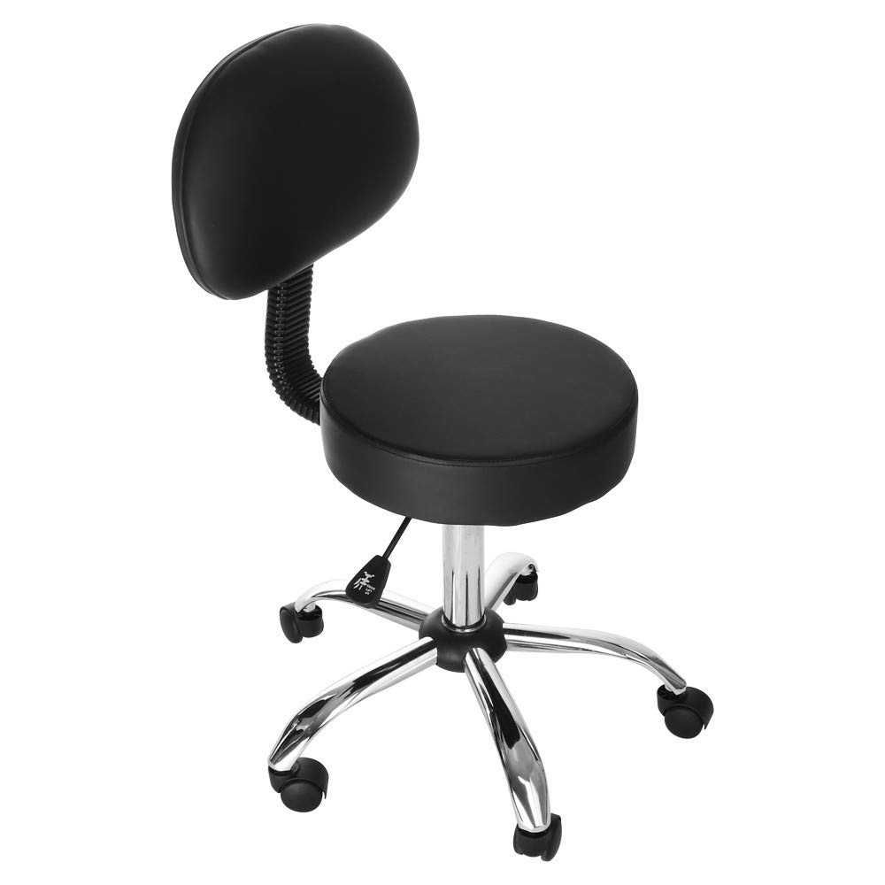 US Fast Shipment Quaanti Hydraulic Salon Chair Office Chair,Round Rolling Stool with Back PU Leather Height Adjustable Swivel Drafting Work Medical Salon Stools Chair with Wheels (Black)