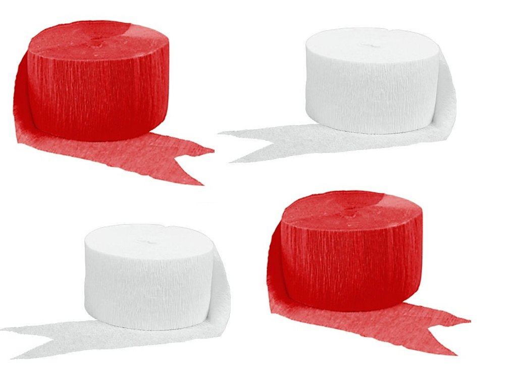 Crepe Paper Streamers for Birthday Party Wedding School Celebrations Decorations (Red and White, 4 Rolls) LSR