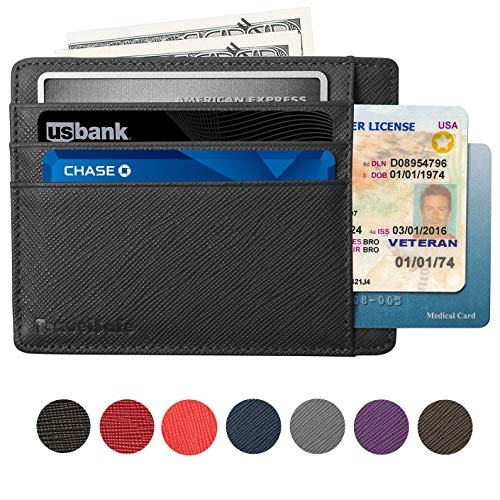 Card Holder Genuine Leather - Slim & Thin 8 Card Slots RFID Credit Card Holder for Women and Men - Minimalist Front Pocket Wallet Design Protects All Credit, ID Cards (Black) ()