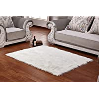 Soft Faux Wool Sheepskin Area Rug,U&M Luxury Fur Silky Shag Rug -Perfect Home Deco.Choice (20 in. X 59 in.)