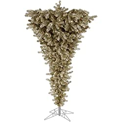 Vickerman Champ Upside Down Artificial Christmas Tree with 500 Warm White LED Lights, 7.5' x 60""