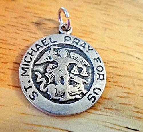 Sterling Silver 18mm 3 Gram Religious Saint St. Michael Medal Charm Vintage Crafting Pendant Jewelry Making Supplies - DIY for Necklace Bracelet Accessories by CharmingSS -