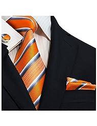 """Landisun Stripes Mens Silk Necktie Set: Tie+Hanky+Cufflinks 14N Orange Blue White Gray, 3.75""""Wx59""""L"""