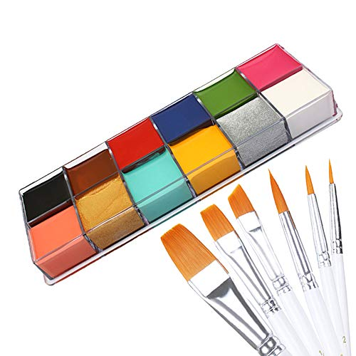 12 Colors Face Body Paint Oil Painting Art Halloween Party Fancy Beauty Makeup Brushes Eye Shadow Kit with Brushes -