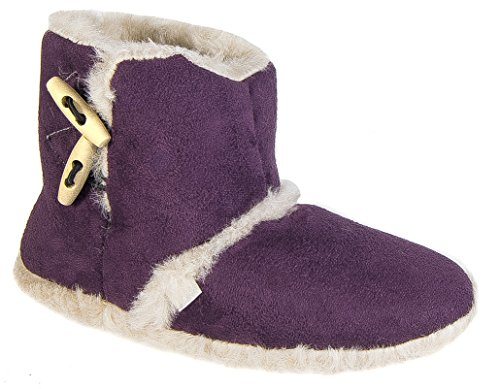 Womens On Warm Plum Slippers Boot Toggle Slip Coolers Ladies Lined 4dwqUUTc