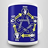 Rock Paper Scissors Lizard Spock Gift Mug by Daemon Design