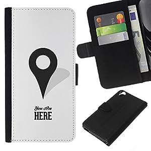 KLONGSHOP // Tirón de la caja Cartera de cuero con ranuras para tarjetas - Usted está aquí Mapas Marcador Gps minimalista - HTC Desire 820 //