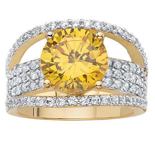 14K Yellow Gold-plated Round Yellow Cubic Zirconia Pave Bridge Ring Size 6 (Ring Bridge For)
