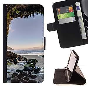 For LG G2 D800 Case , Cueva Sunset Ocean Blue Sand verano- la tarjeta de Crédito Slots PU Funda de cuero Monedero caso cubierta de piel