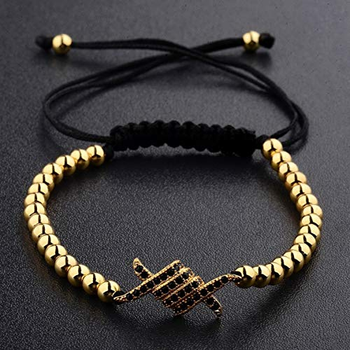 Gatton 18kt Men Women Fashion Zircon Gold Plated 4mm Beads Braided Macrame Bracelets | Model BRCLT - 40894 ()