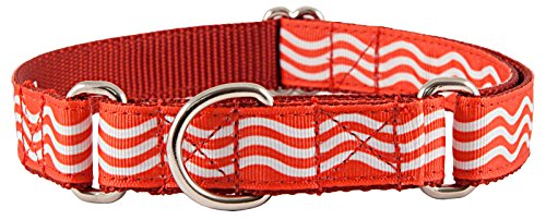 Country Brook Design Red Wave Grosgrain Ribbon Martingale Collar-L