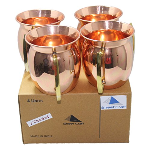 STREET CRAFT Set of 4 Old Fashion Smooth Moscow Mule Mug with Flat Lip Copper Moscow Mule Mugs Cups Brass Handle