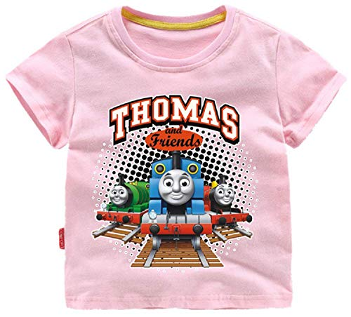 (Indepence Life Toddler Boys' Thomas and Friends Train Short Sleeve T-Shirt for 2-8Years(Pink, 5T) )