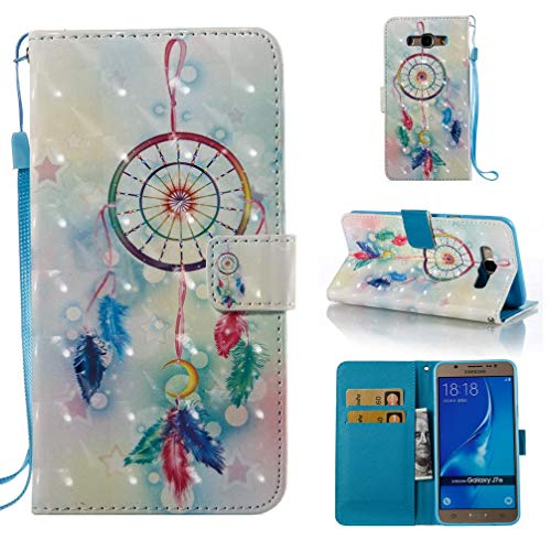 Case for Galaxy J710/J7 2016,Durable Kickstand Card Holder Dual Layer 3D Printing Pu Leather Wallet Case with Wrist Strap Magnetic Closure Compatible with Samsung Galaxy J710/J7 2016 ()
