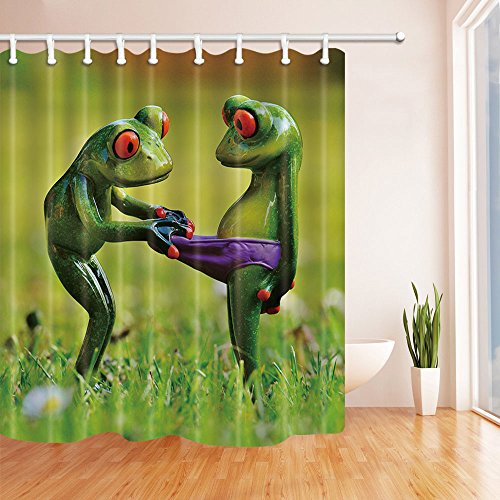 NYMB Animals Decor Frogs fall in Lover Shower curtain Waterproof 69X70 inches Mildew Resistant Polyester Fabric Decorations Bath Curtain Hooks Included Frog Bathroom Decor
