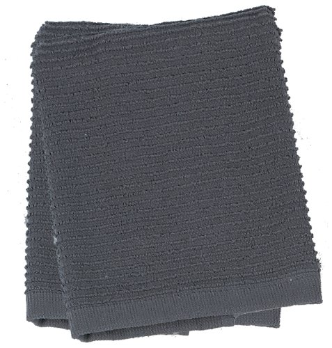 (Kay Dee Designs Ribbed Terry Dishcloths, Cotton, 2-Piece Set, 13-Inch by 13-Inch, Charcoal)