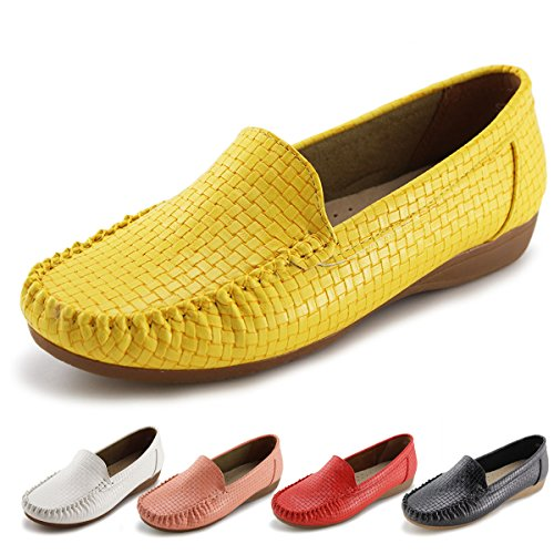 Jabasic Women's Slip-on Loafers Flat Casual Driving Shoes (10 B(M) US, Yellow)