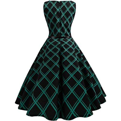 Noche Style de Tunic Estampado 2018 Maxi Vestido youth® sin K Mujer Vestido Fiesta Oferta Casual Vestido de Verde XL Hepburn Manga Moda Swing Bohemia Vintage Mujer Enrejado BXwzxH