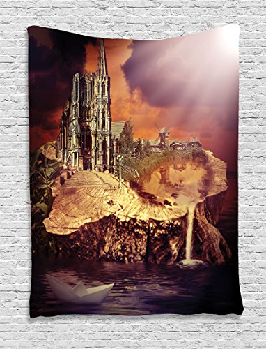[Gothic Decor Tapestry by Ambesonne, Fantasy Castle and Village on Stump in the Water Scary Sunset Medieval Fiction Design, Wall Hanging for Bedroom Living Room Dorm, 40 X 60 Inch, Plum Light] (Scary Mime)