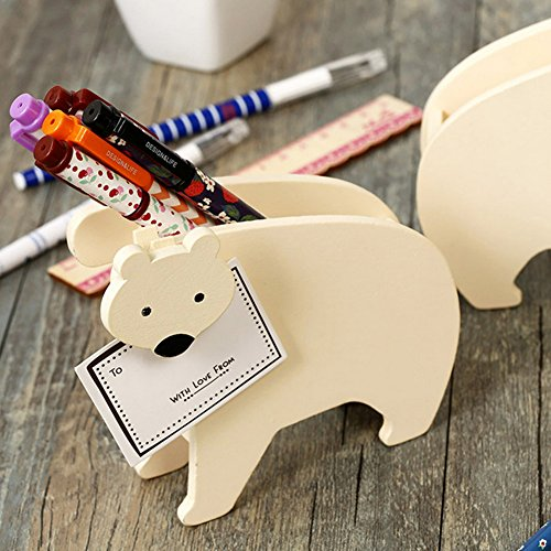 Wooden Polar Bear - YOURNELO Creative Wooden Polar Bear Pen Pencil Holder Memo Folder Desk Organizer Accessories (Beige)