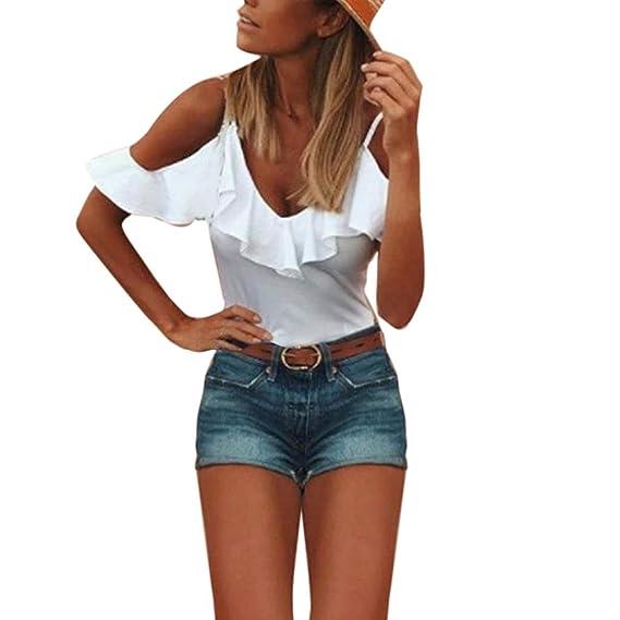 Qingsiy Mujer Blusa de Honda Tops con Volantes - Mujeres Camisas Cortas Blusa con Cordones V
