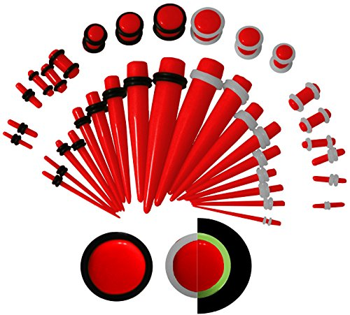 KingNQueen - 36 pc Set - Best Ear Stretching Tapers and Plugs Starter Kit - 00g to 14 gauges (1.6/2/2.5/3/4/5/6/8/10mm) - Stretch Earrings Men Jewelry (Red & EXTRA Glow in Dark O-Rings)