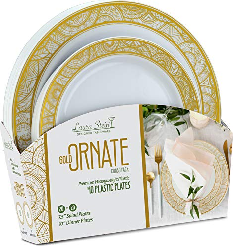 Laura Stein Party Ornate series Set of Elegant Disposable Dinnerware Combo Set White Plates & Bowls With Gold Border for Birthdays, Weddings, (1 Combo Pack, 40 Plates (20 Sets), White & Gold)
