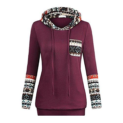 QiuLan Women Vintage Geometric Pattern Hoodie Long Sleeve Hooded Drawstring Sweatshirt Top Blouse With Pocket (X-Large,Purple)