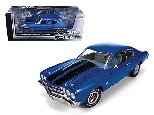 Autoworld AMM956 1970 Chevrolet Chevelle SS 396 Lemans Blue 20th Anniversary of American Muscle Edition Limited Edition 1 of 1000 Produced Worldwide 1/18 Diecast Model Car
