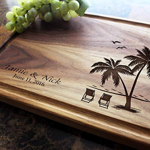 Palm and Beach Personalized Engraved Cutting Board- Wedding Gift, Anniversary Gifts, Housewarming Gift, Birthday Gift, Gift. #409