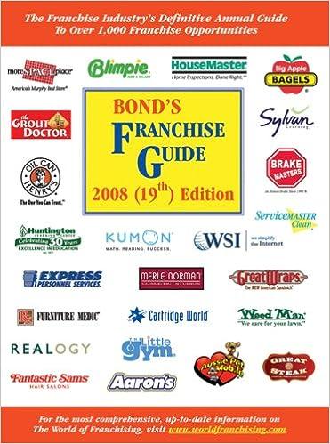 Bonds Franchise Guide 2008 Robert E Bond 9781887137591 Amazon Books