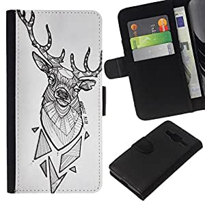 All Phone Most Case / Oferta Especial Cáscara Funda de cuero Monedero Cubierta de proteccion Caso / Wallet Case for Samsung Galaxy Core Prime // cuernos de venado patrón polígono blanco negro