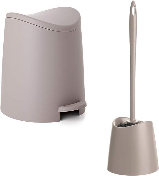 PracticDomus Color Blanco Conjunto Cubo de Ba/ño con Pedal de 3L y Escobilla WC Gama Standard